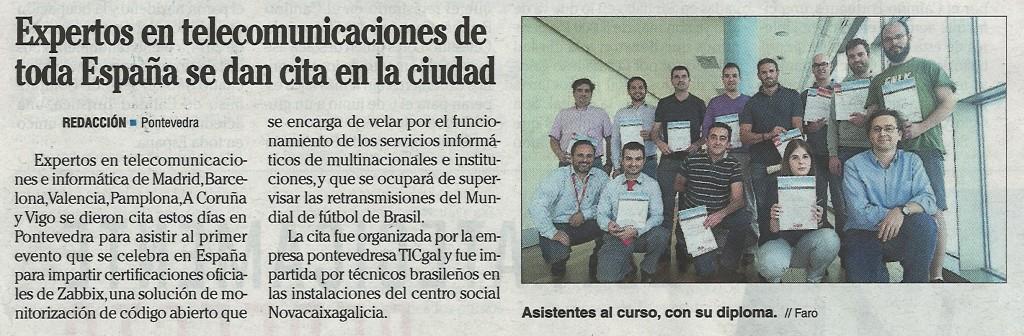 Nova curso zabbix en Faro de Vigo