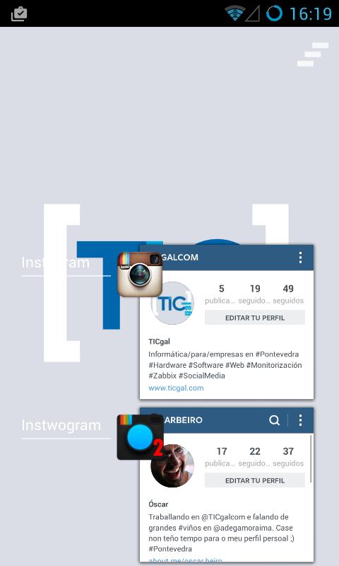 Las dos apps de instagram ejecutándose simultáneamente