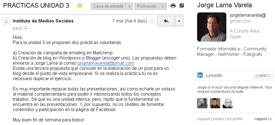 rapportive: Extensión de procura en Linkedin para Gmail