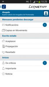 Como se ven las notificaciones de Lexnet en LexnetApp