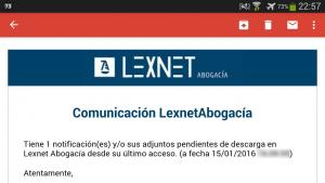 Lexnet Abogacía notificación por correo electrónico