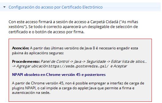 La nueva sede electrónica del Concello de Pontevedra necesita Java