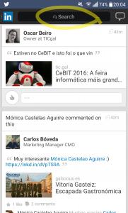 Captura de Linkedin Touch en el móvil