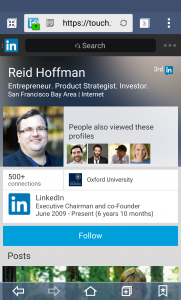 Perfil de Linkedin de Reid Hoffman