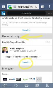 Linkedin actividad reciente