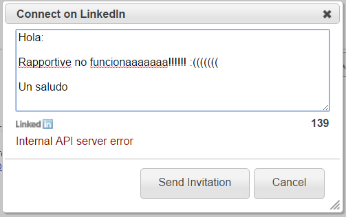 Internal API server error en Rapportive para Linkedin