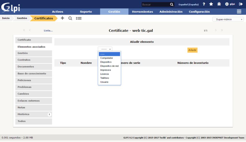 Inventario de certificados con GLPi