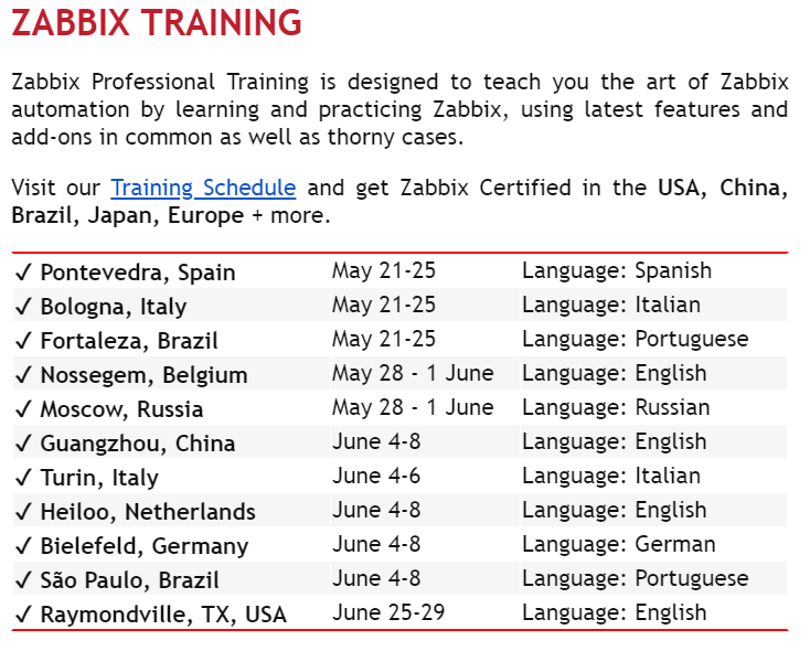Zabbix trainings in the world