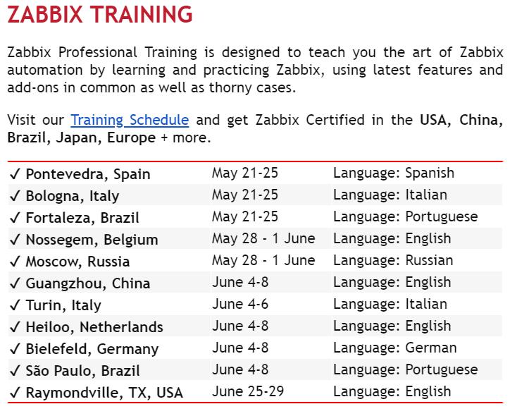 Zabbix trainings in the world
