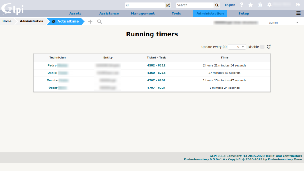 Actualtime running timers