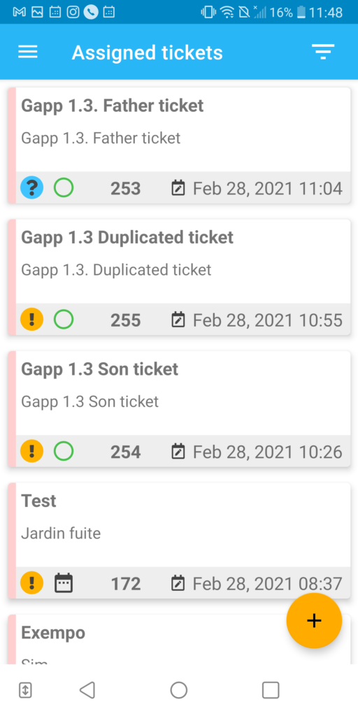 Tickets view on Gapp 1.2